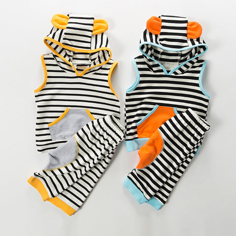Summer Striped Hooded Set