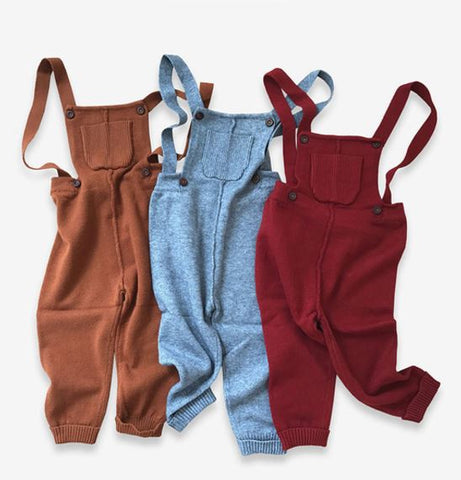 Playful Knitted Overalls