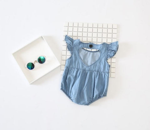 Summer Denim Heart Romper
