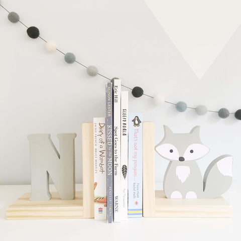 Fox and Initial Nursery Bookends