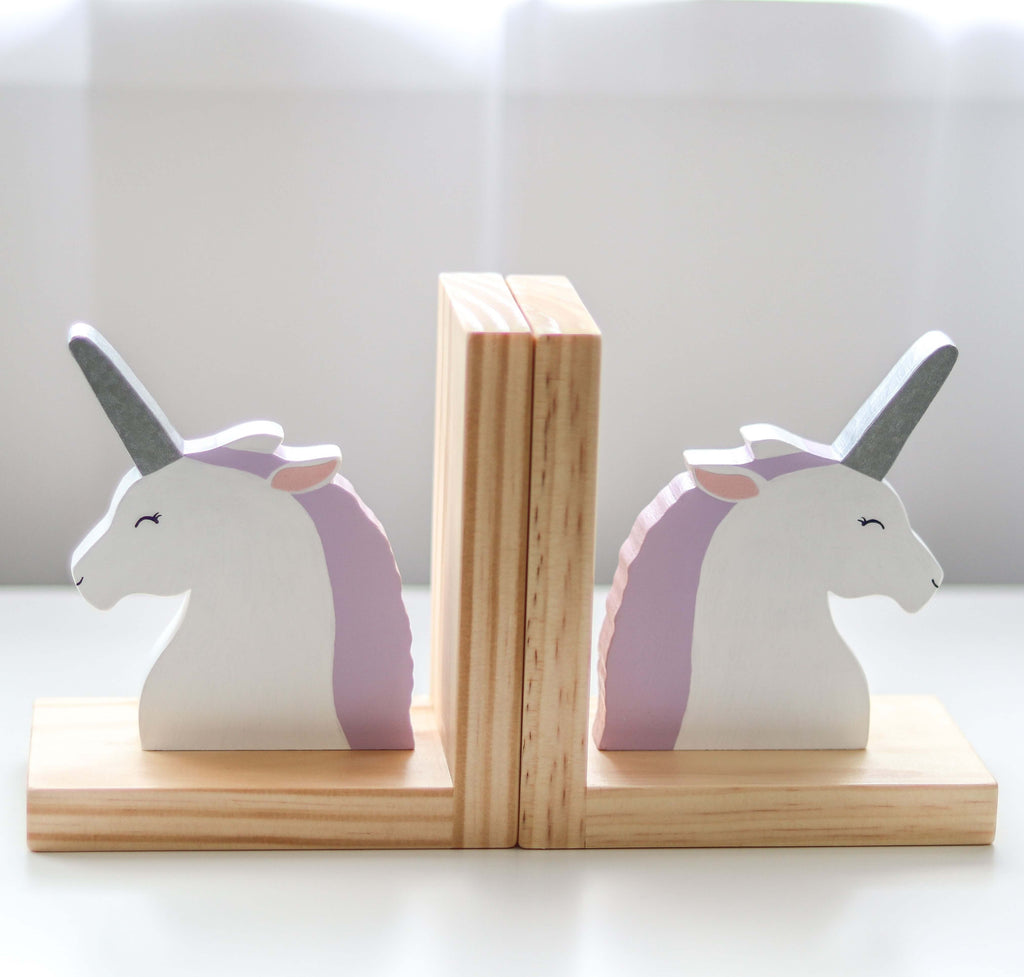 Lilac and Silver Unicorn Bookends