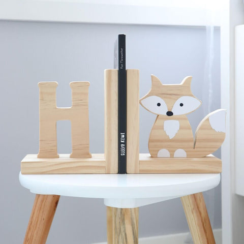 Scandi Initial and Fox Nursery Bookends