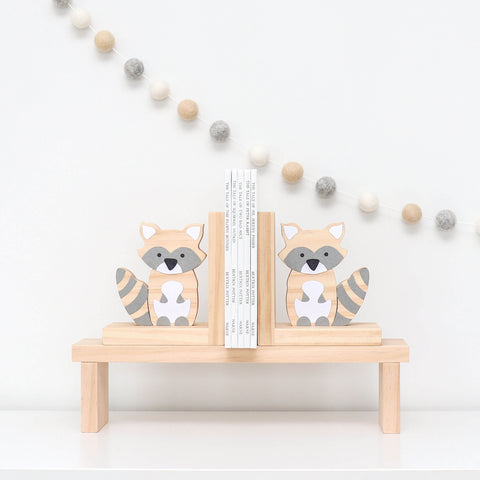 Scandi Raccoon Bookends