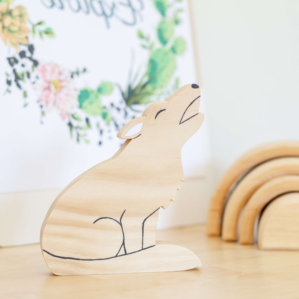 Scandi wolf shelf decor