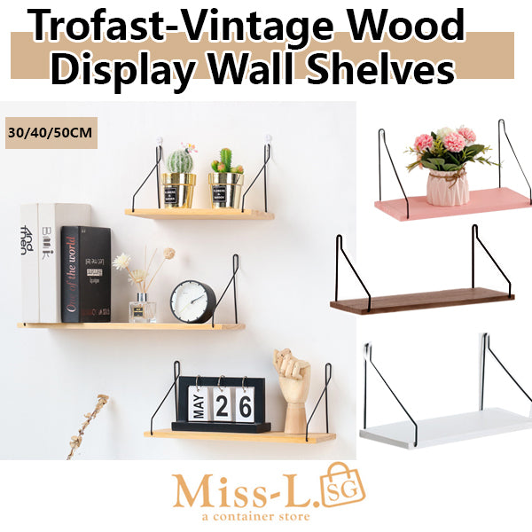 Trofast-Vintage Wood Display Wall Shelves