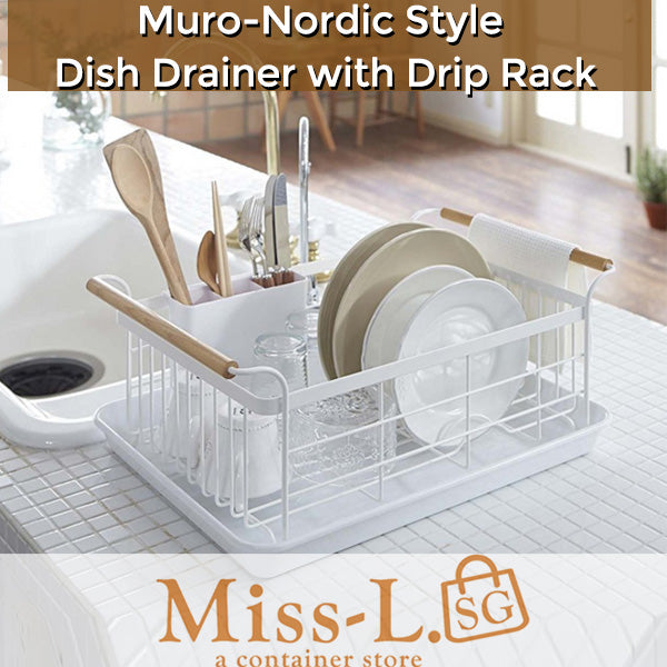 Muro-Nordic Style Dish Drainer with Drip Rack