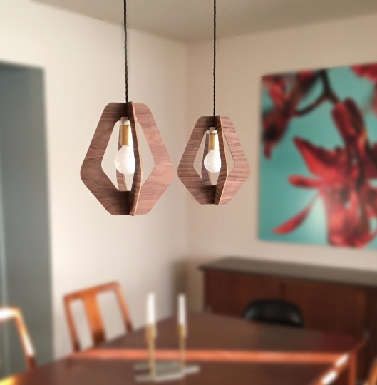 Walnut hanging pendant light chandelier - gdomm
