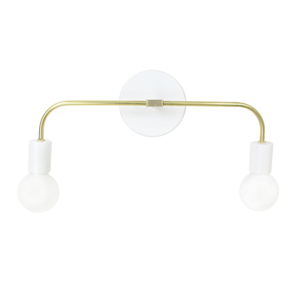 U-Post Matte Black and Brass Accents Double Arm Wall Sconce - gdomm