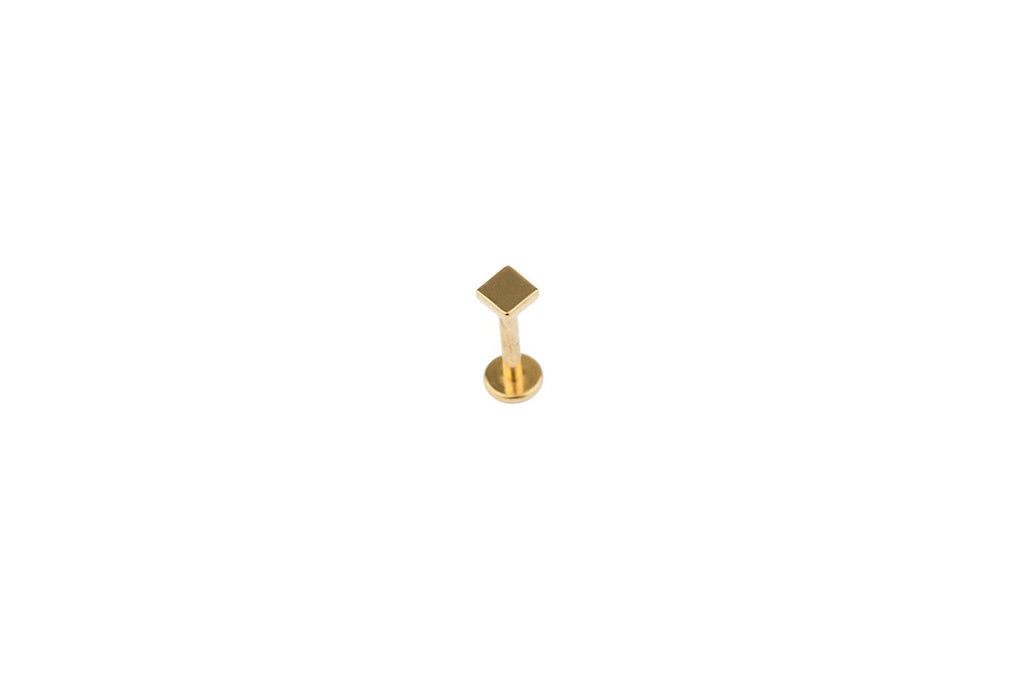 Square Gold Surgical Steel Barbell
