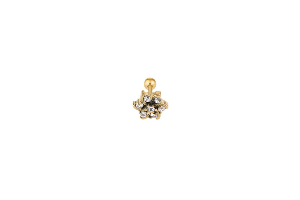 Crystal Flower Gold Surgical Steel Barbell