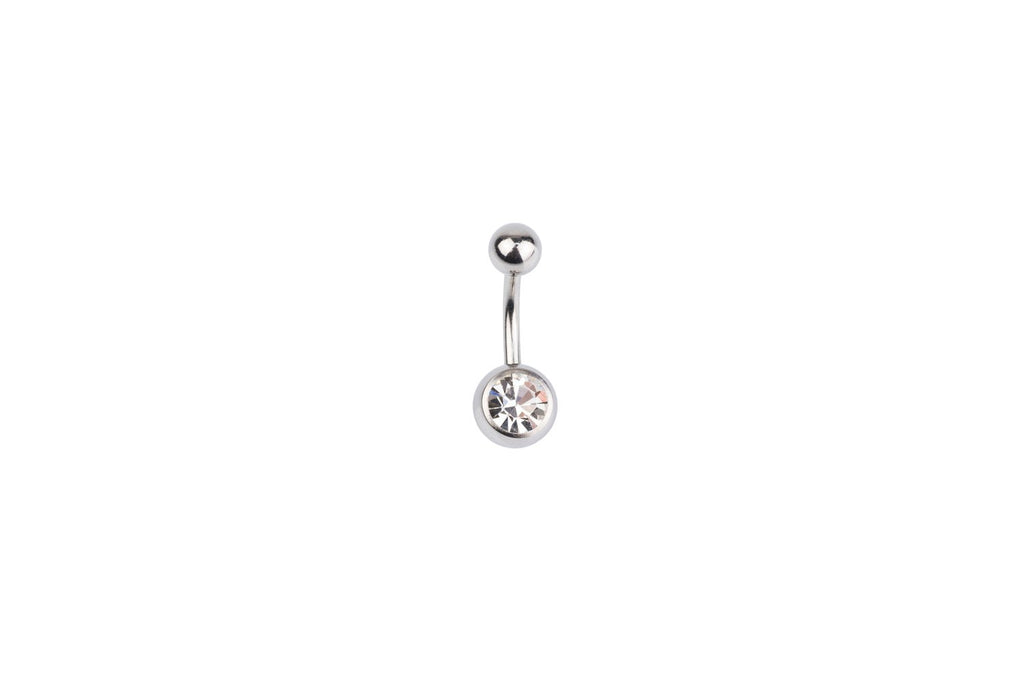 White Crystal Surgical Steel Navel Barbell