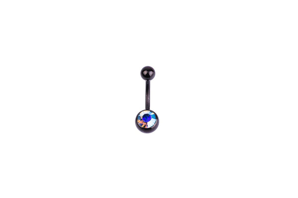 Blue Aurora Borealis Black Surgical Steel Navel Barbell