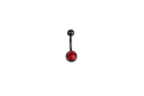 Red Crystal Black Surgical Steel Navel Barbell