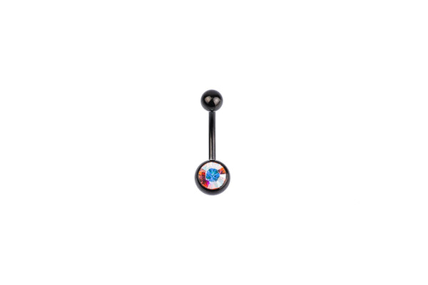 Red Aurora Borealis Black Surgical Steel Navel Barbell