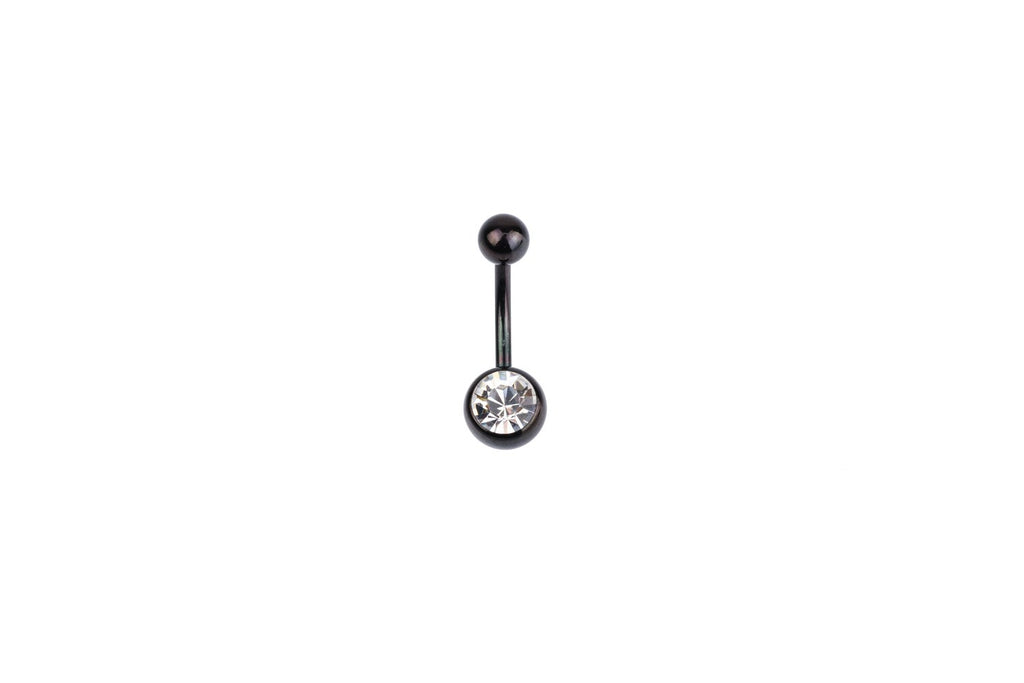 White Crystal Black Surgical Steel Navel Barbell