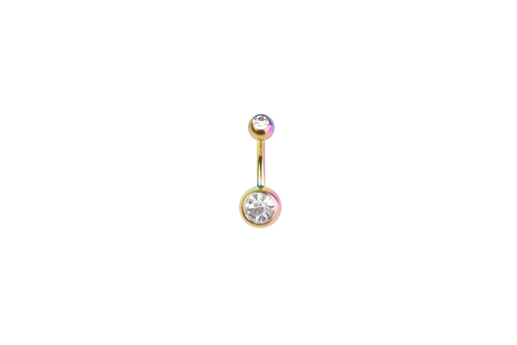 White Crystal Rainbow Surgical Steel Navel Barbell