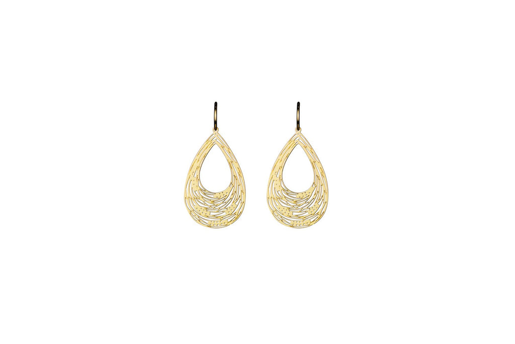 Gold Carved Drop Earrings