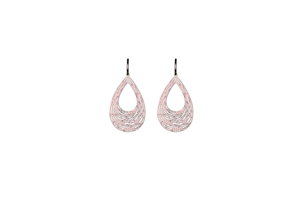Rosegold Carved Drop Earrings