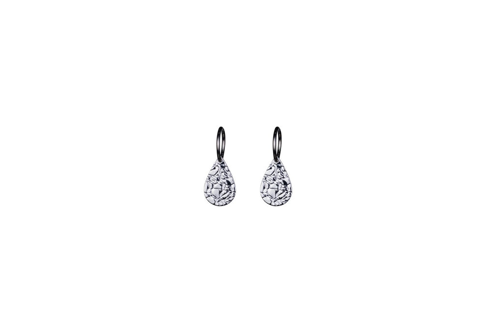Silver Melting Teardrop Earrings