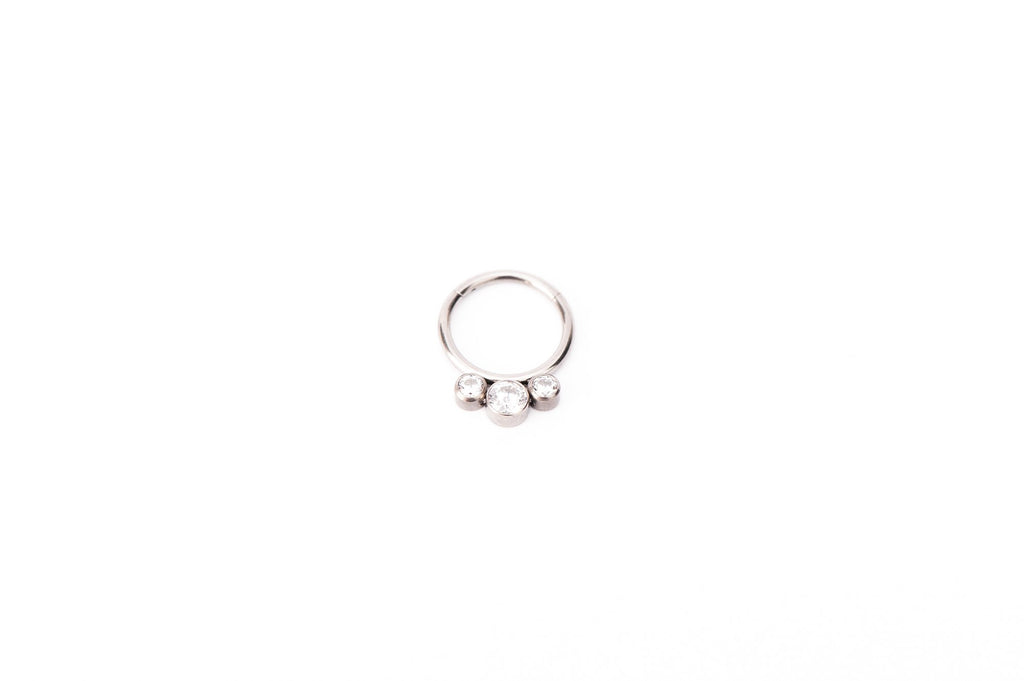 White Crystal Three Point Titanium Clicker Ring