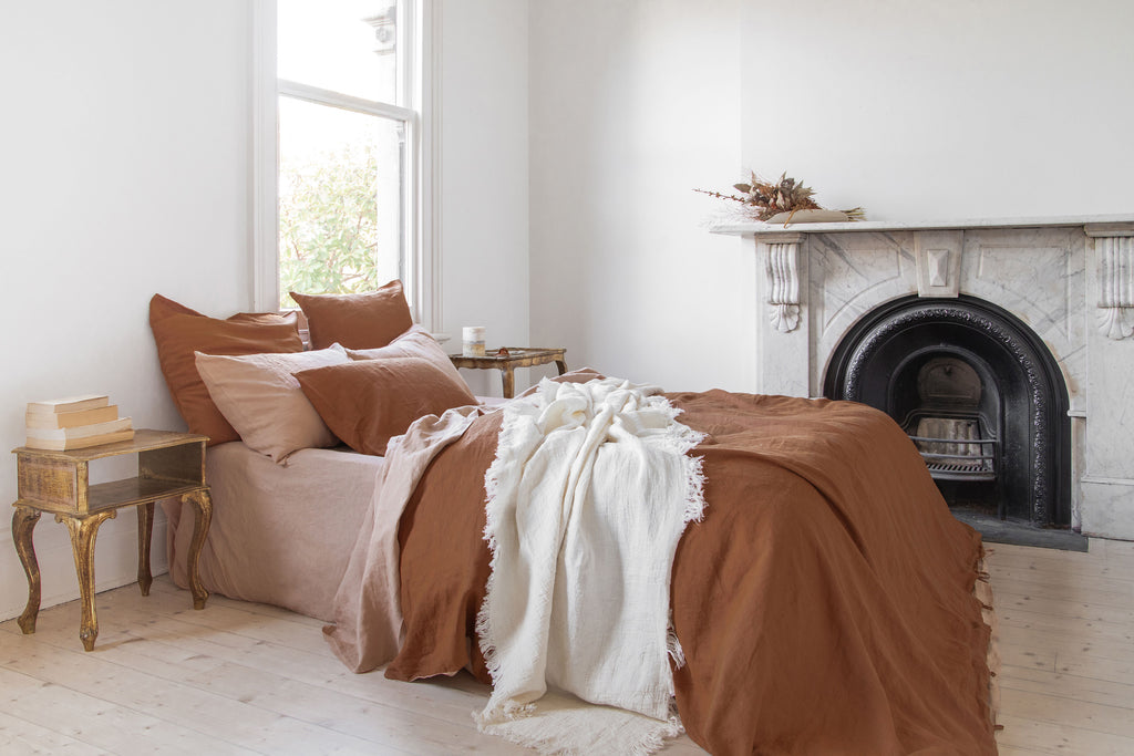 rust and peach linen