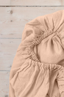 French Linen Fitted Sheet - Peach (Limited Edition)