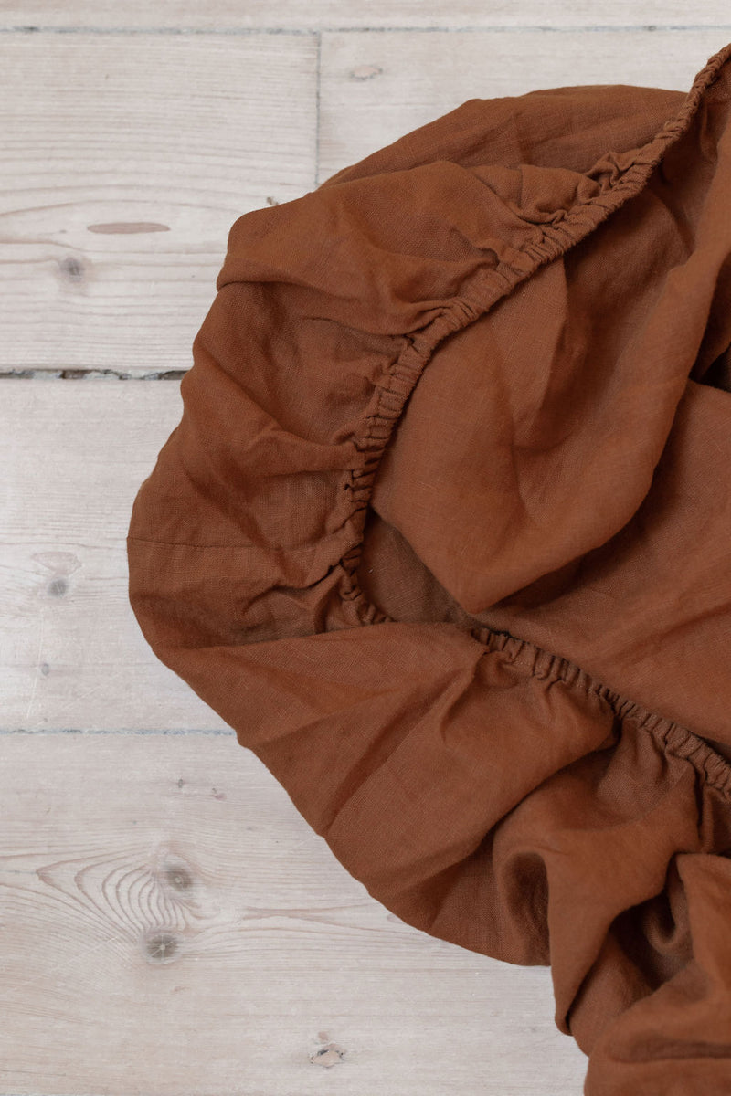 French Linen Fitted Sheet - Rust (Limited Edition)