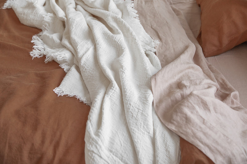 French Linen Throw - Ivory