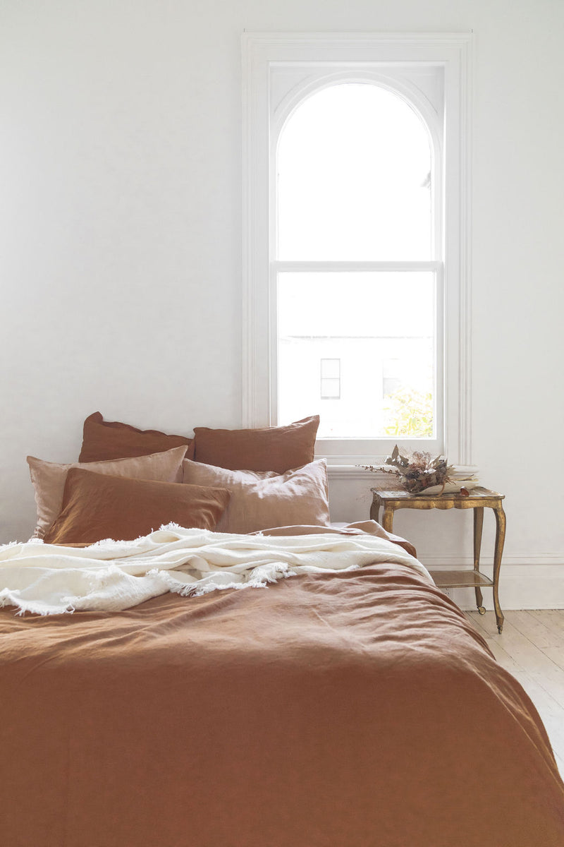 French Linen Reversible Quilt Cover - Rust/ Peach (Limited Edition)