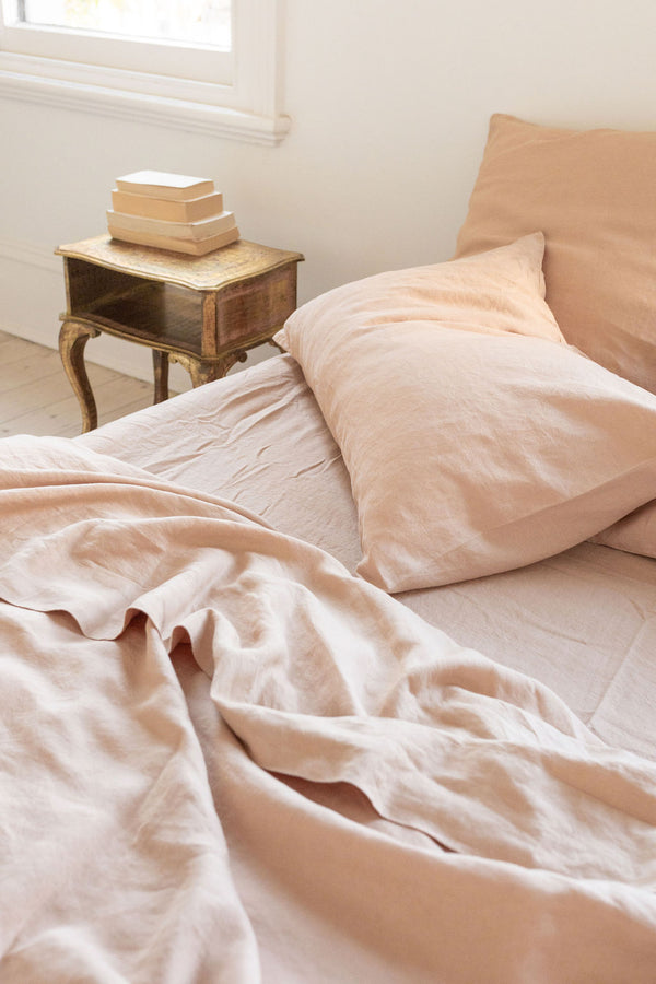French Linen Flat Sheet - Peach (Limited Edition)