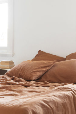 French Linen Euro Pillowcase Set - Rust (Limited Edition)