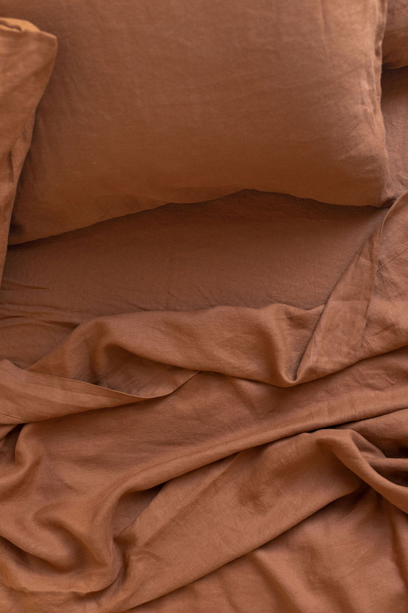 French Linen Standard Pillowcase Set - Rust (Limited Edition)