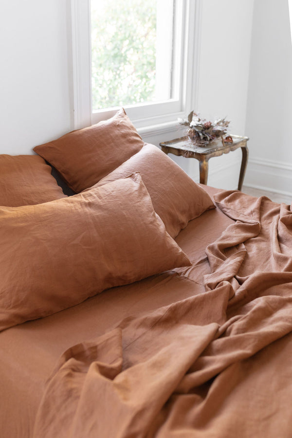 French Linen Flat Sheet - Rust (Limited Edition)