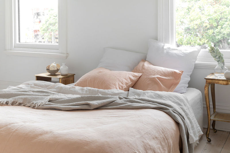 French Linen Standard Pillowcase Set - Peach (Limited Edition)