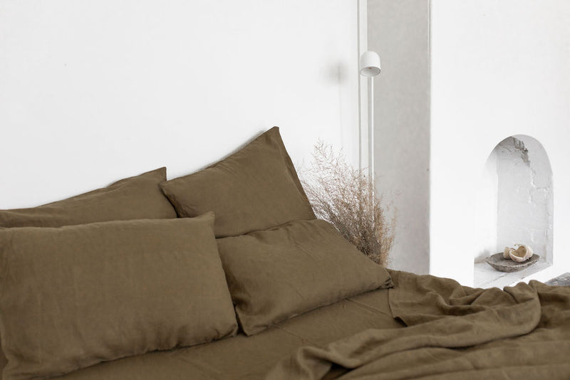 French Linen Flat Sheet - Olive (Limited Edition)