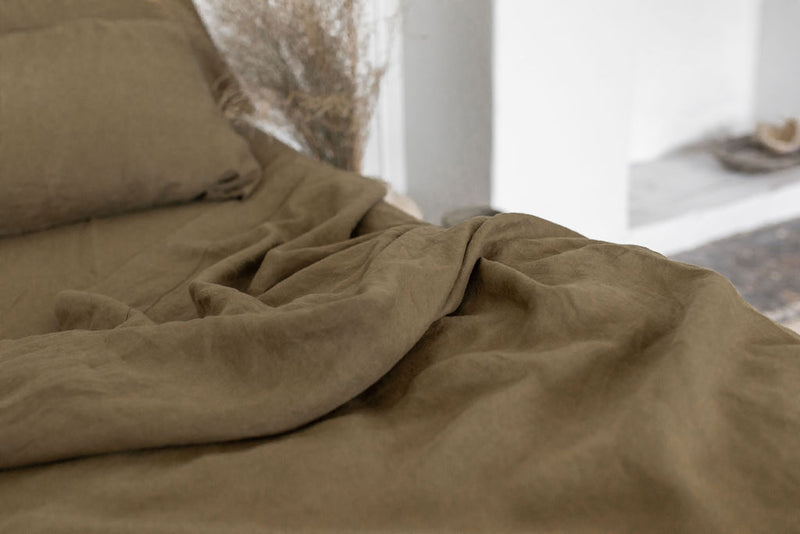 French Linen Fitted Sheet - Olive (Limited Edition)