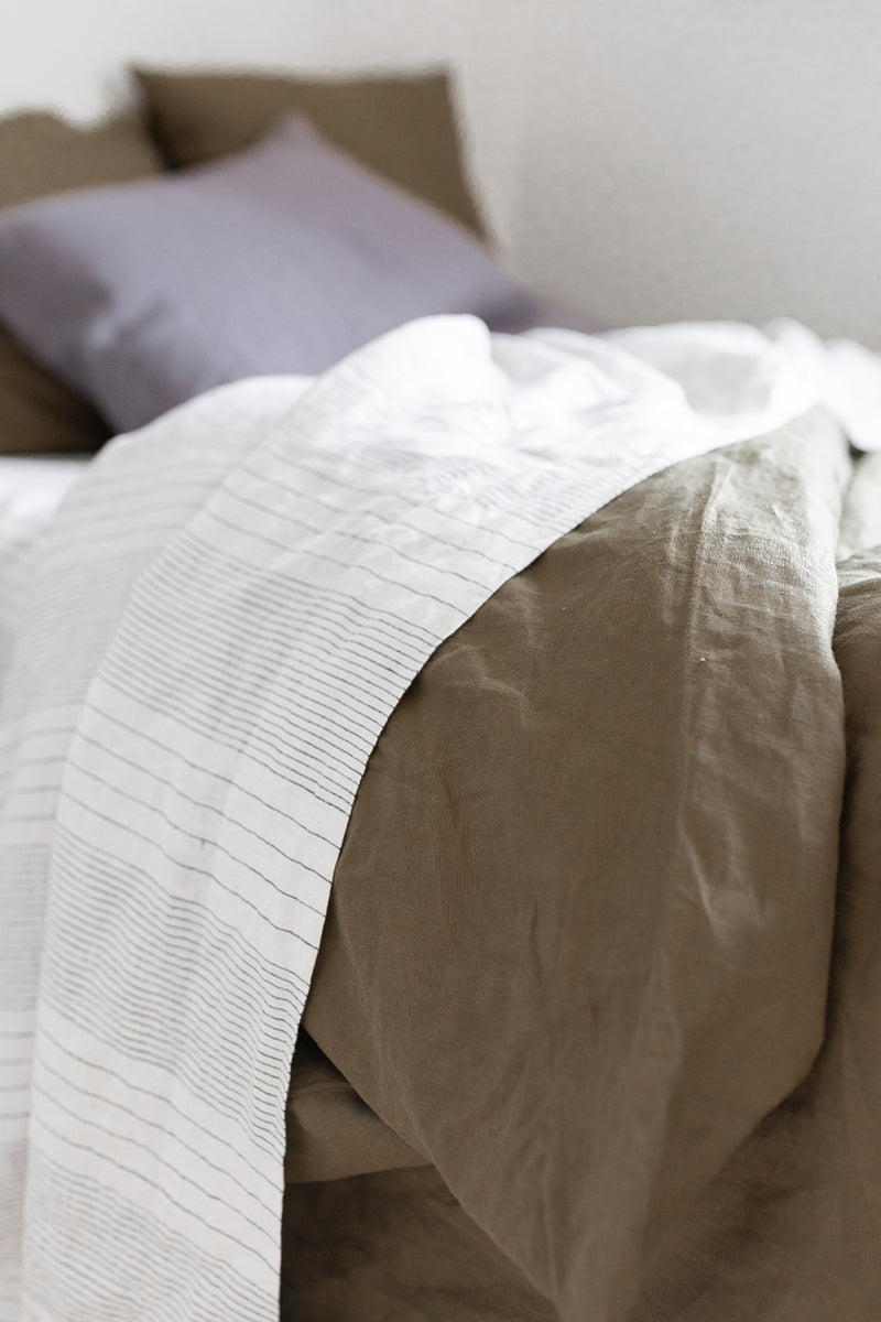 French Linen Flat Sheet - Pinstripe