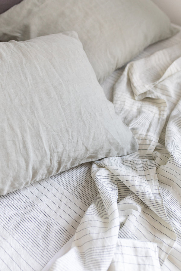 French Linen Fitted Sheet - Pinstripe