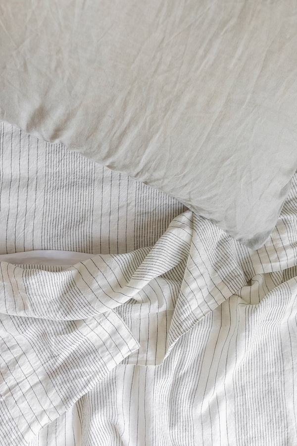 French Linen Standard Pillowcase Set - Pinstripe