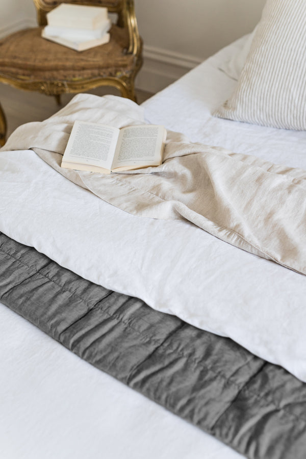 French Linen Reversible Quilted Bedcover - Coal/ Dove Grey
