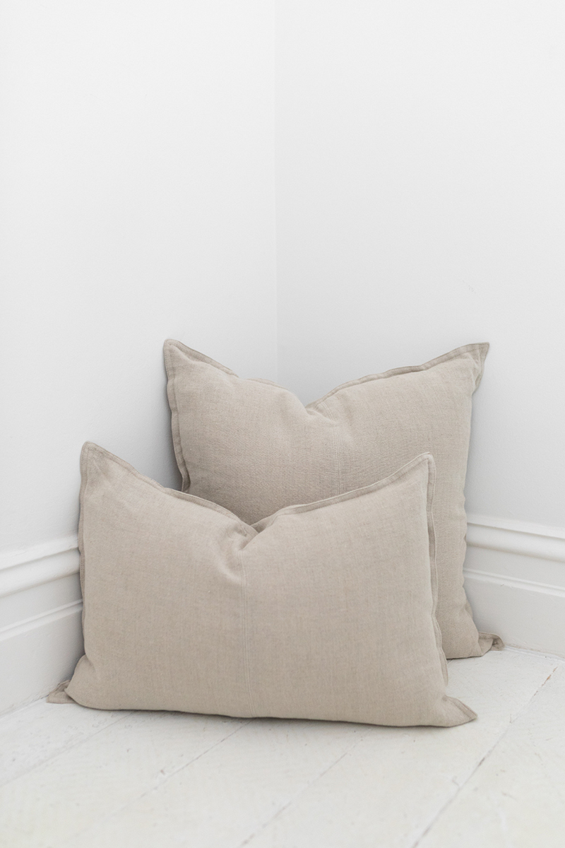 Linen Cushion - Natural Euro