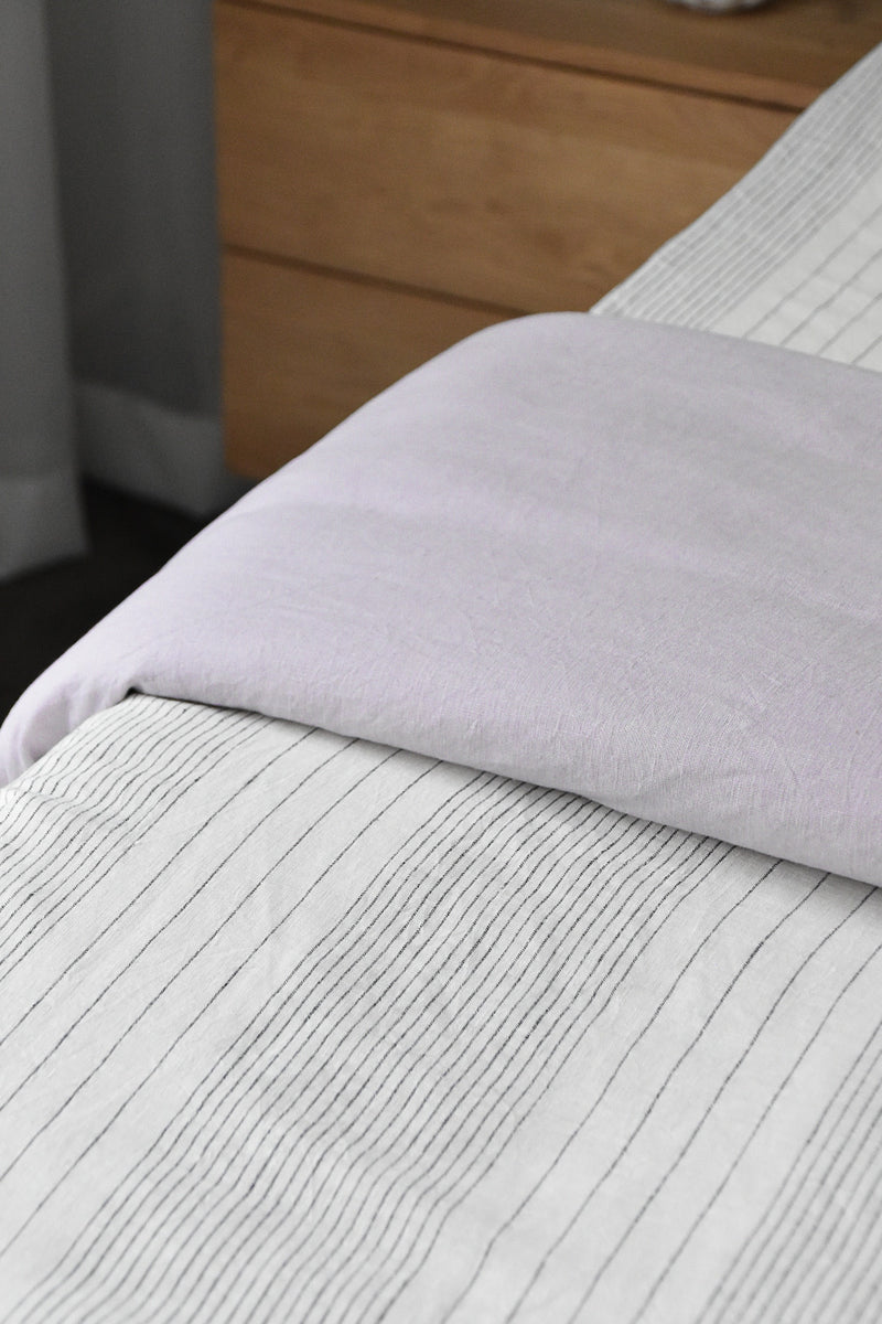 French Linen Reversible Quilt Cover - Lilac/ Pinstripe (Limited Edition)