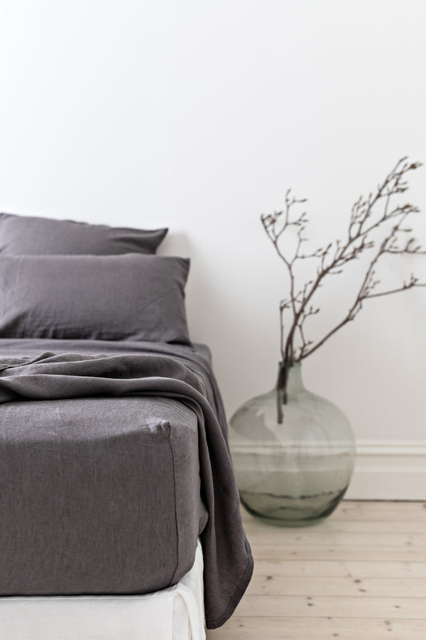 French Linen Fitted Sheet - Charcoal