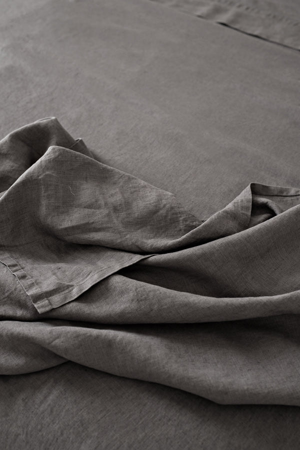 French Linen Flat Sheet - Charcoal