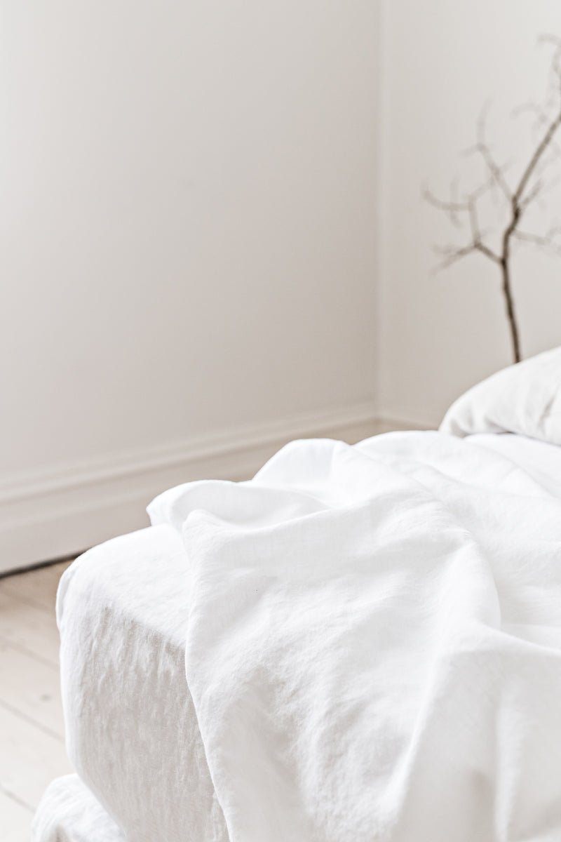 French Linen Fitted Sheet - White