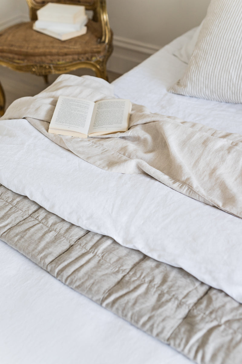 French Linen Quilt Cover - White