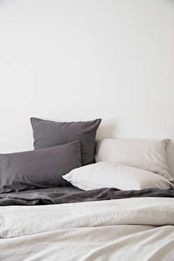 French Linen Standard Pillowcase Set - Charcoal