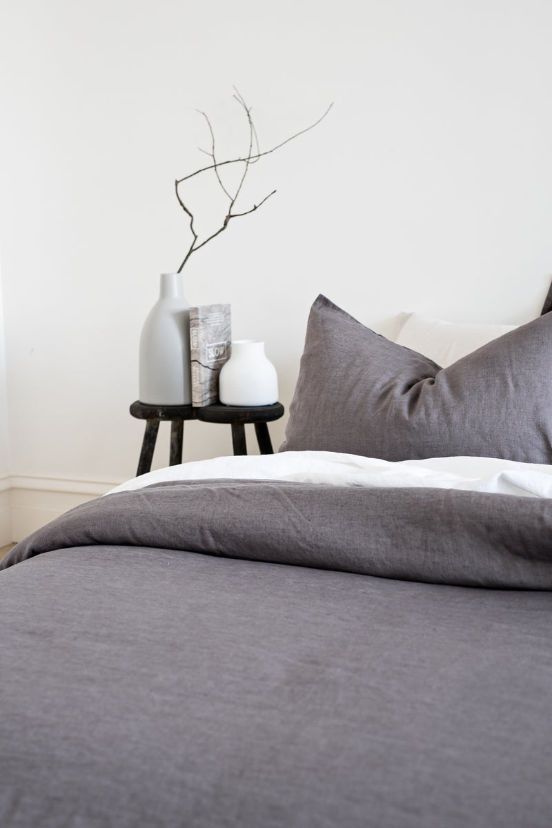 French Linen Quilt Cover - Charcoal