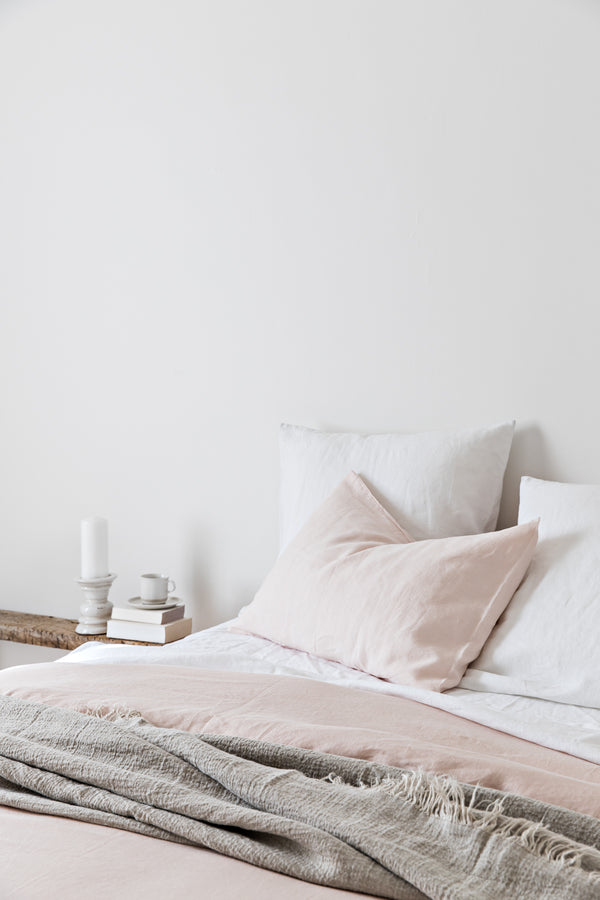 French Linen Quilt Cover - Nude Blush