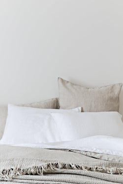 French Linen Standard Pillowcase Set - White